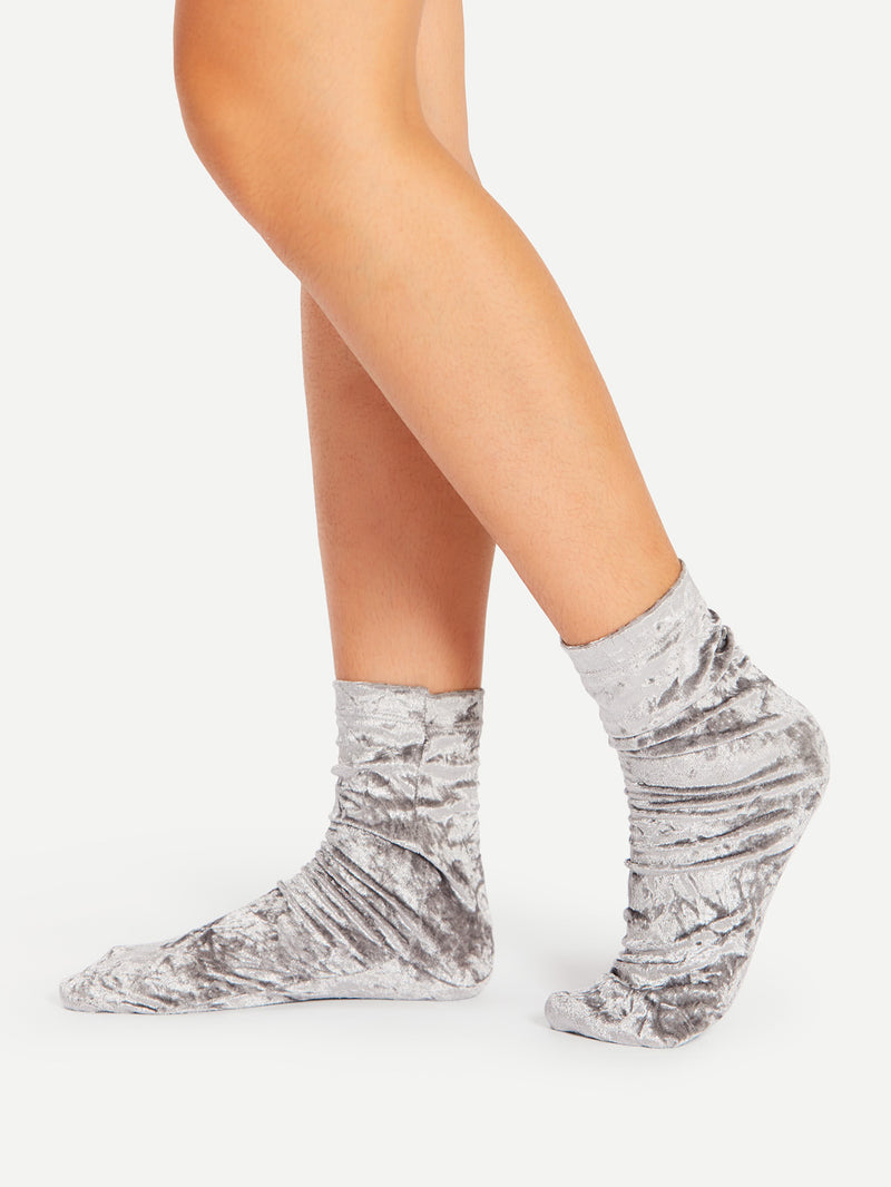 Crushed Velvet Ankle Socks