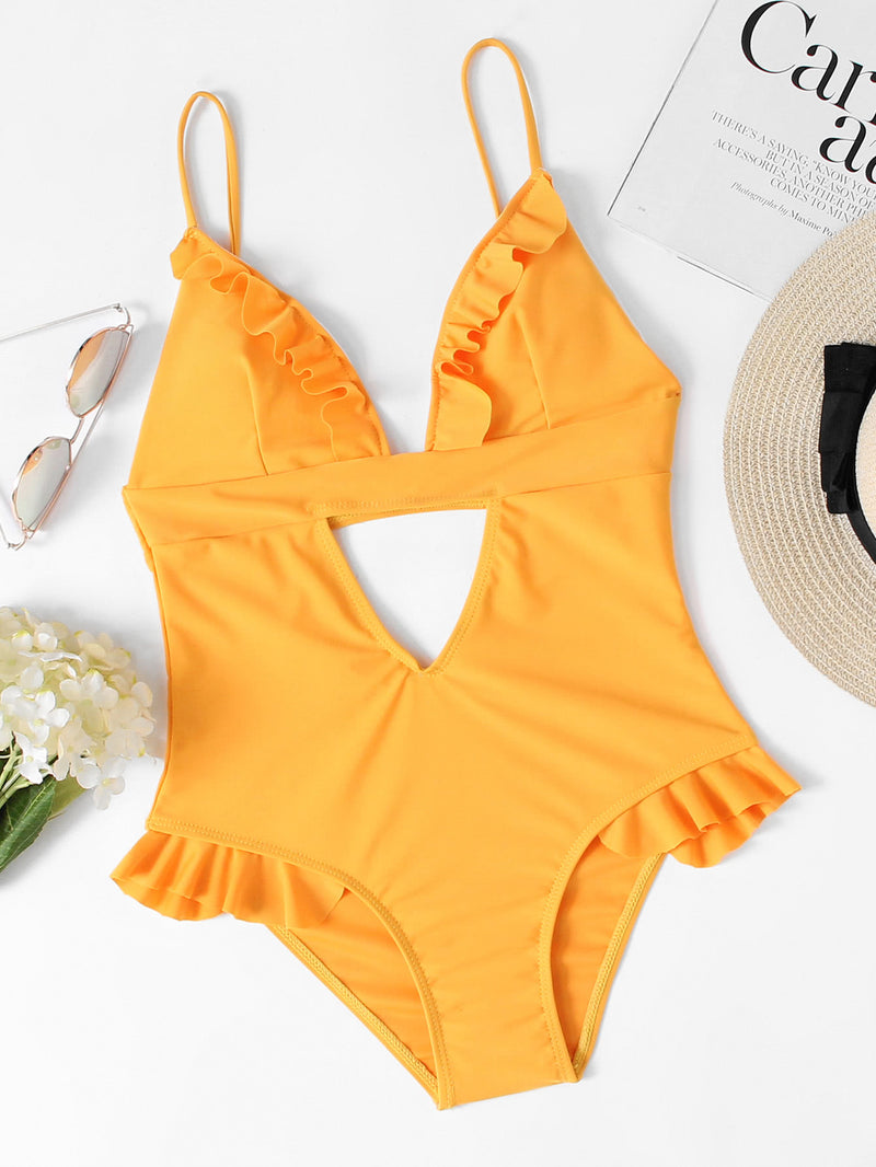 Ruffle Detail Cut Out Swimsuit