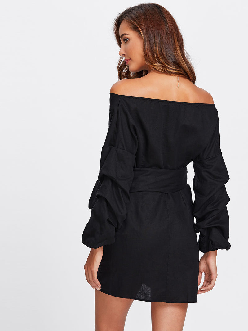 Ruched Sleeve Self Tie Surplice Dress