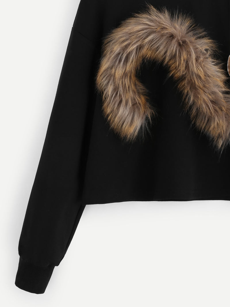 Faux Fur Fox Patch Sweatshirt