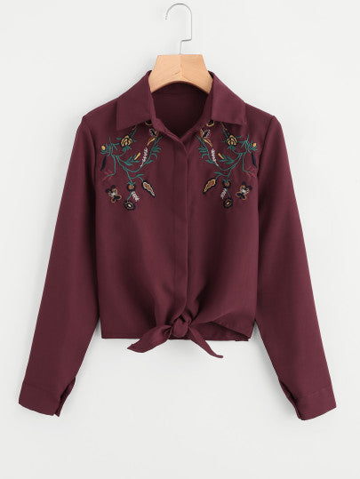 Embroidery Knotted Hem Shirt