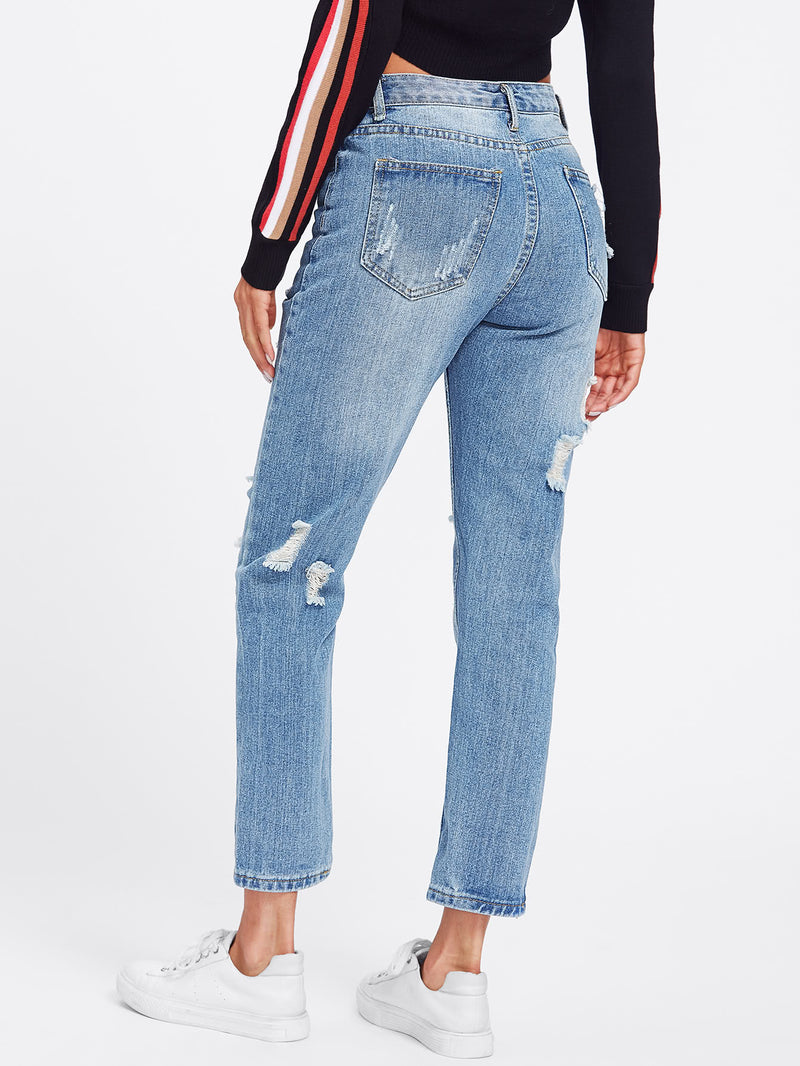 Straight Ripped Crop Jeans
