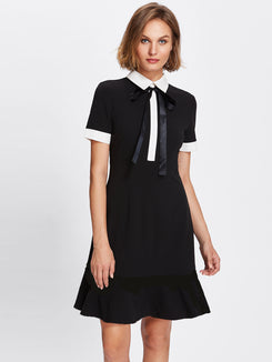 Contrast Trim Tie Neck Dress