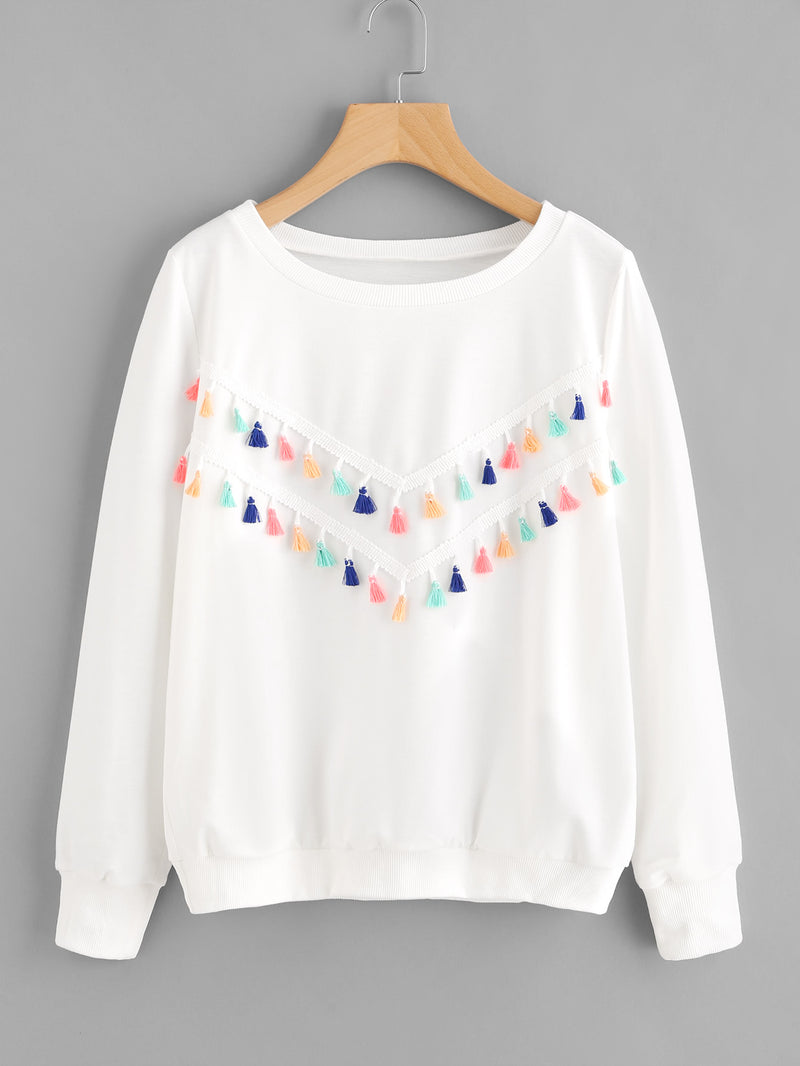 Colorful Fringe Trim Sweatshirt