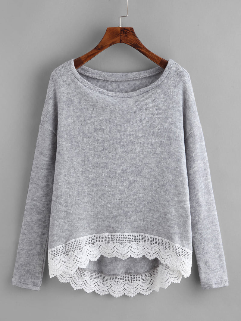 Crochet Trim Dip Hem Heathered Tee