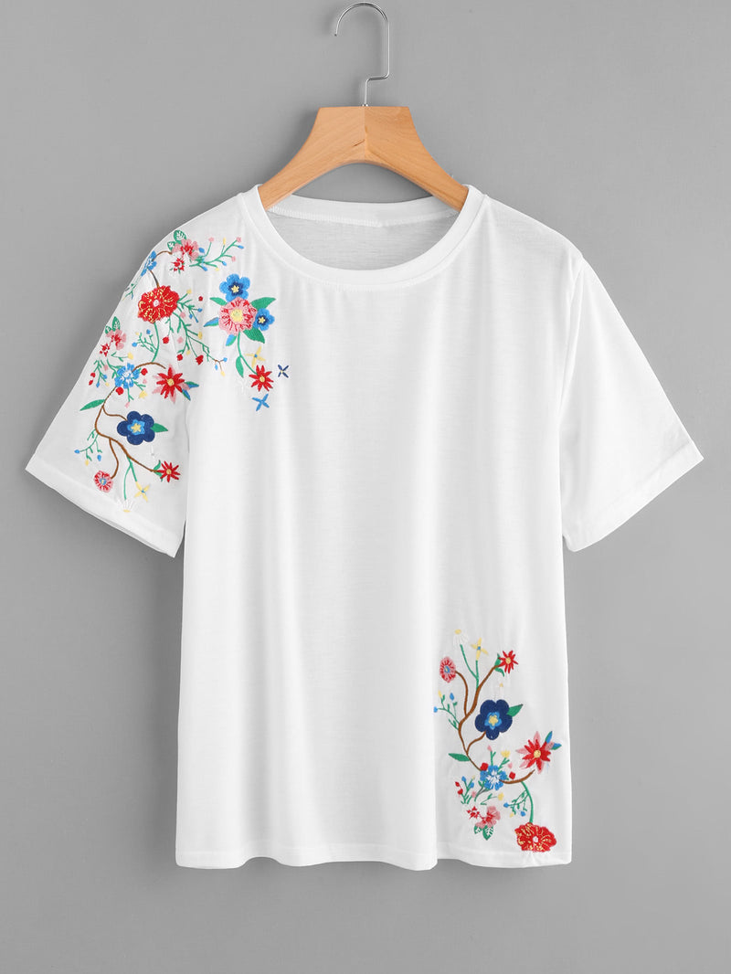 Botanical Embroidered Tee