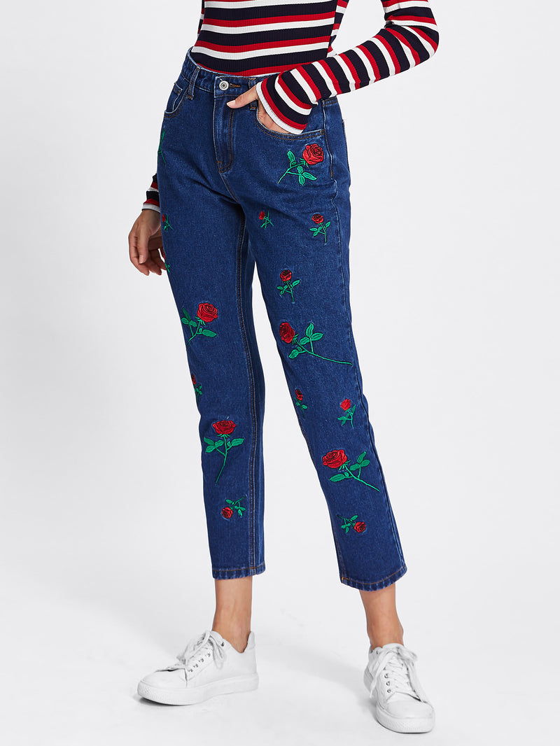 Allover Flower Embroidery Front Jeans
