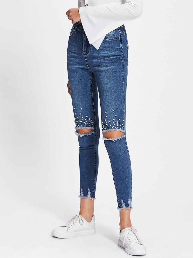 Pearl Beading Destroyed Raw Cut Hem Jeans
