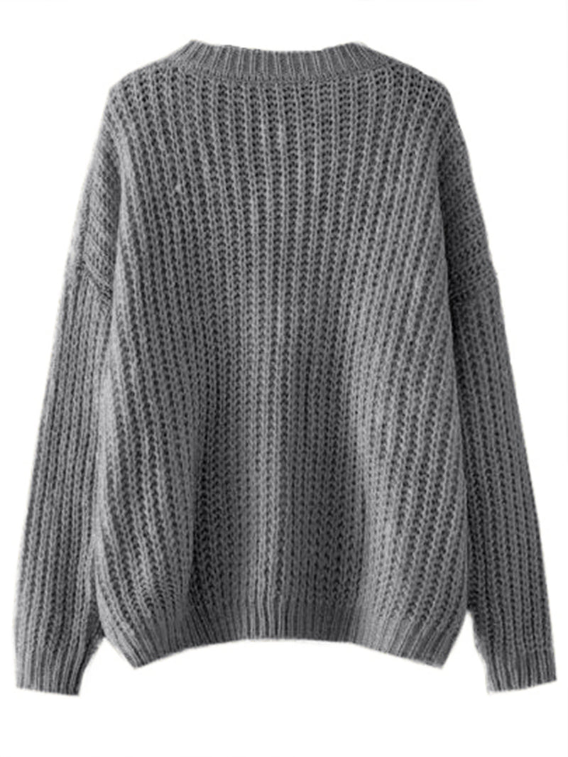 Drop Shoulder Ribbed Knit Jumper