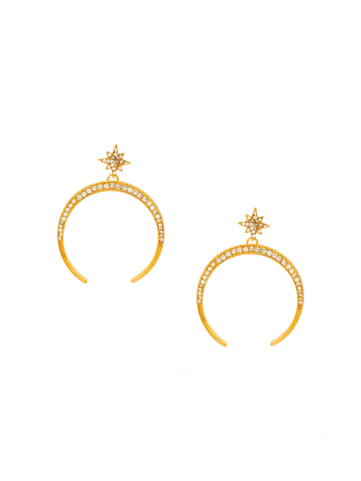 Star Detail Moon Design Drop Earrings