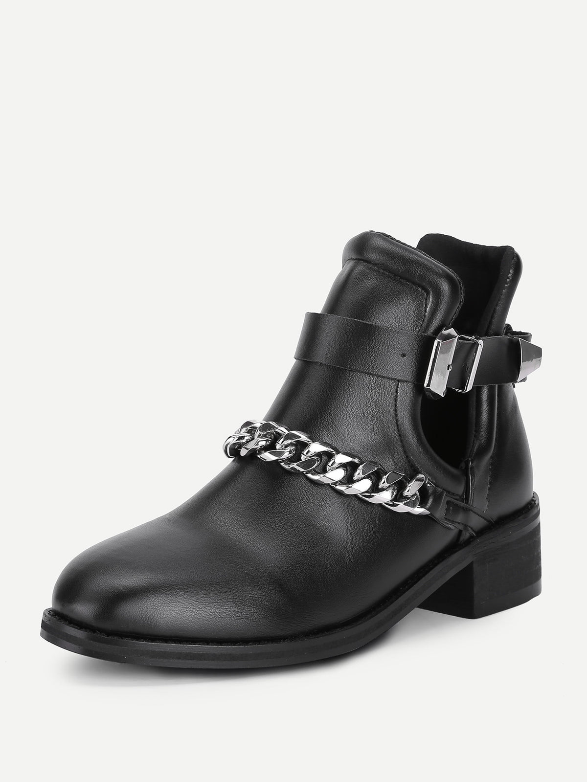 Chain Decorated Block Heeled Ankle Boots