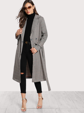 Belted Cuff And Waist Plaid Coat