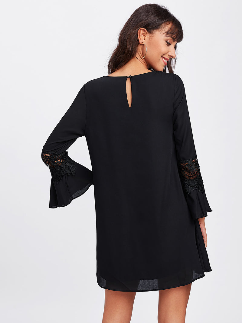 Crochet Insert Fluted Sleeve Dress
