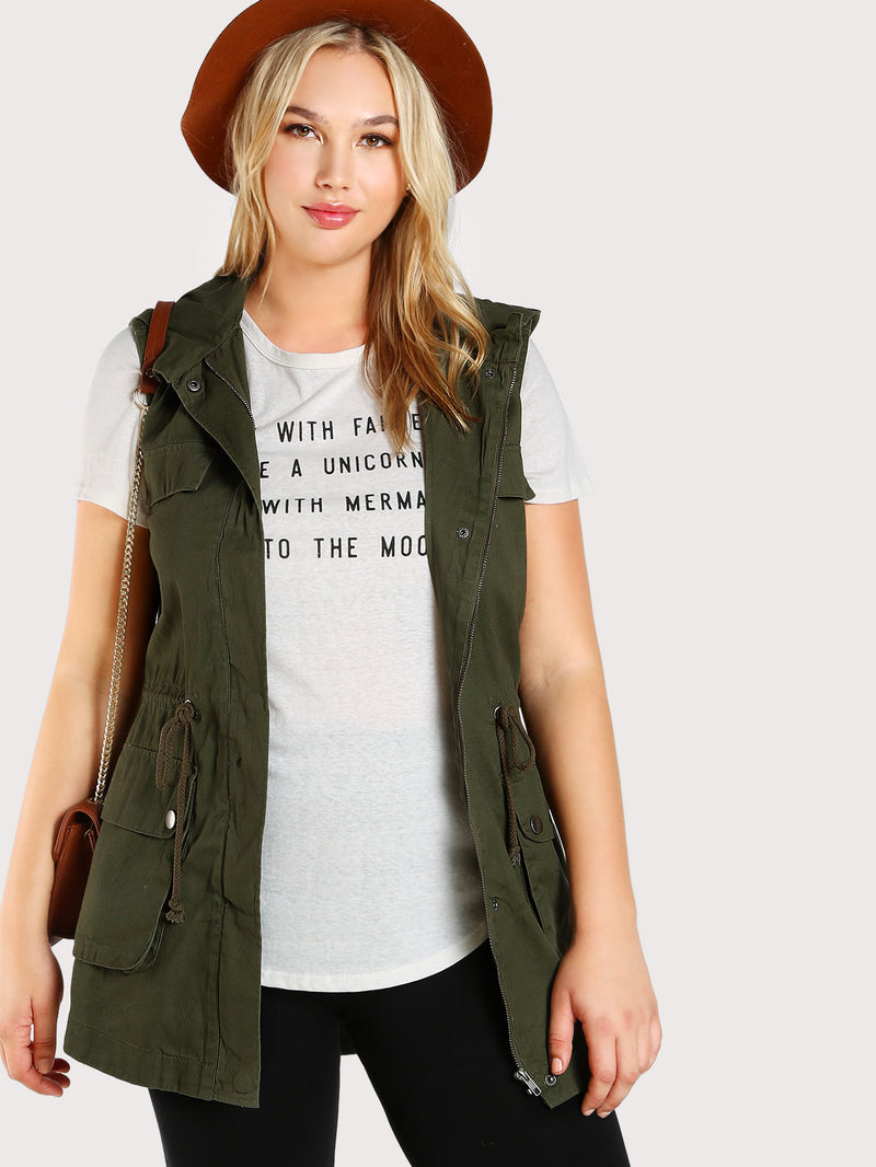 Sleeveless Hooded Military Jacket