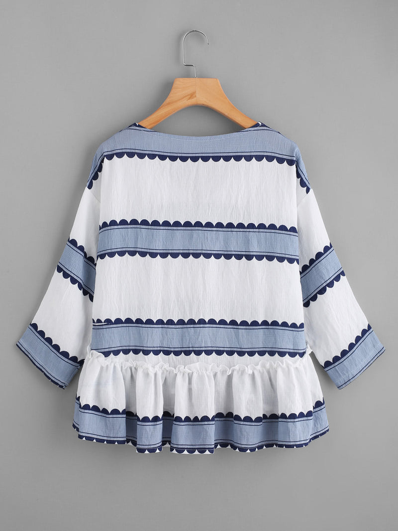 V Neckline Striped Frill Dip Hem Blouse