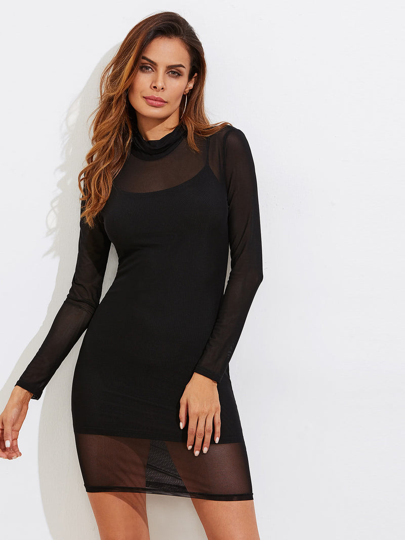 Sheer Mesh Bodycon Dress With Rib Cami Dress