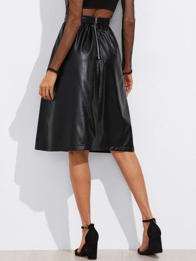 Exposed Zip Back Faux Leather Skirt
