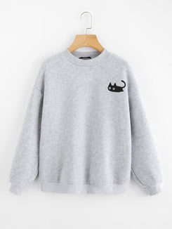 Cat Print Heather Knit Pullover
