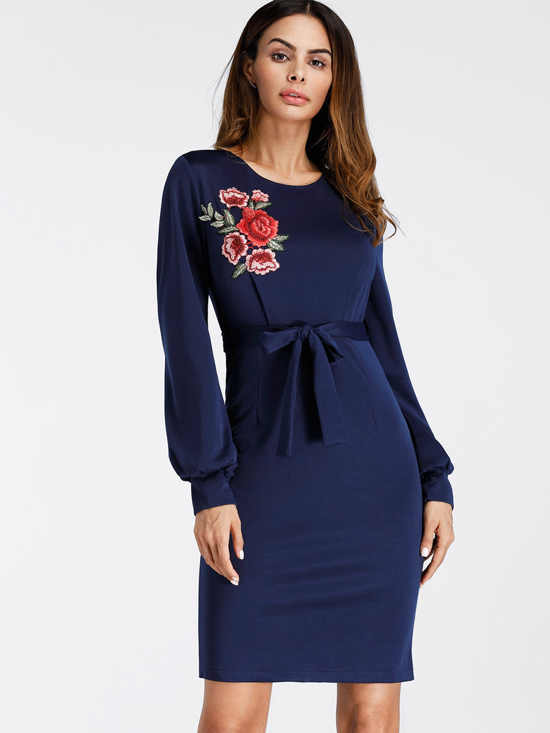 Embroidered Applique Bishop Sleeve Slit Back Sheath Dress