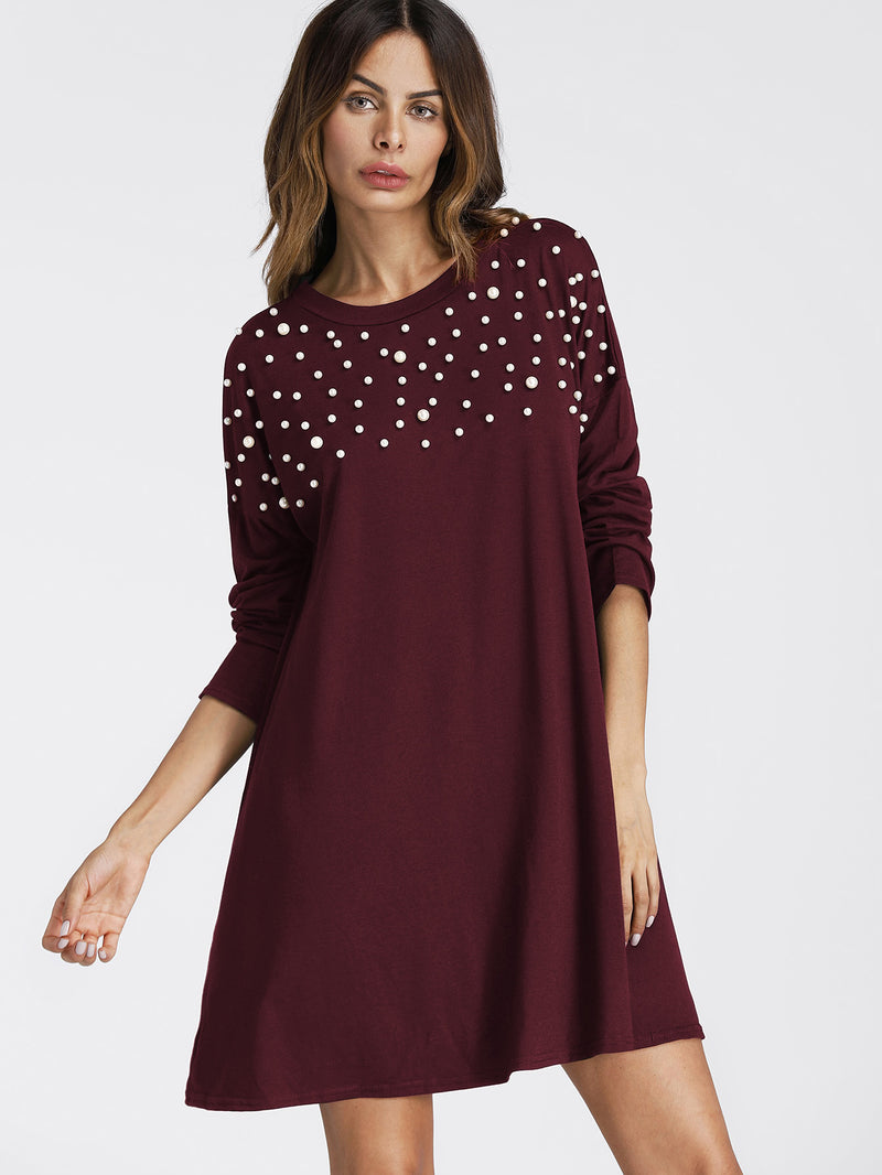 Pearl Beading Drop Shoulder Tee Dress