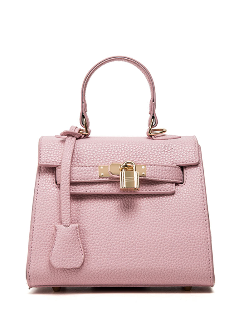 Lock Flap Pebble Pattern Handbag