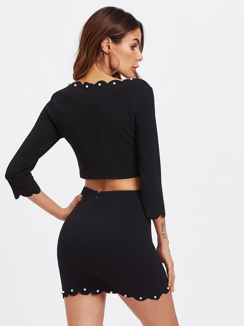 Pearl Detail Scalloped Crop Top & Skirt Co-Ord