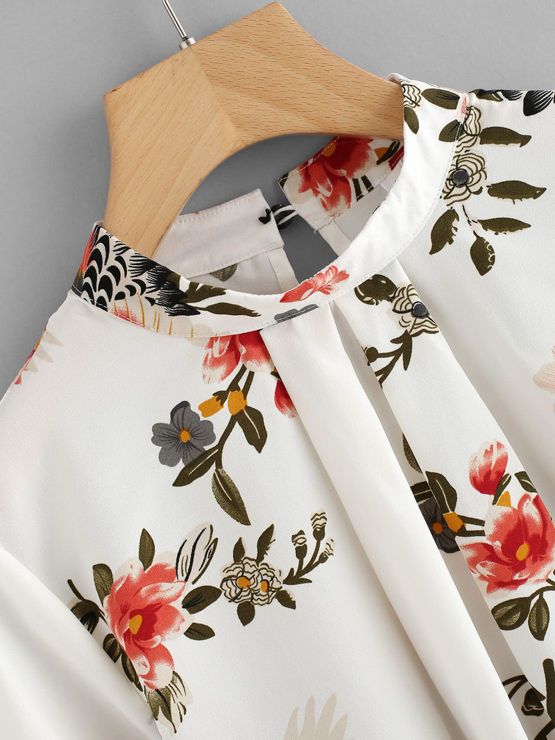 Fluted Sleeve Floral Print Pleated Front Blouse