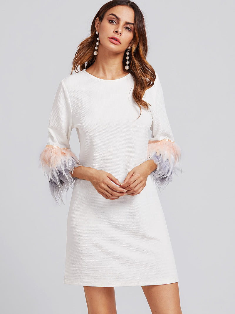 Contrast Feather Sleeve Textured Dress