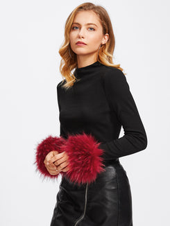 Contrast Faux Fur Cuff Ribbed Tee