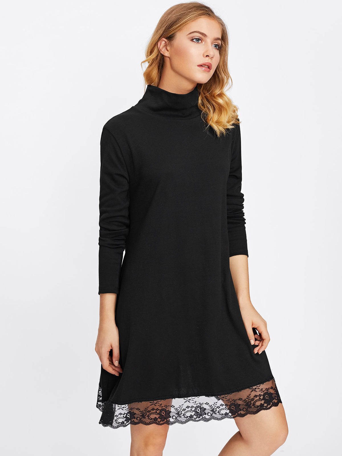 High Neck Lace Hem Dress