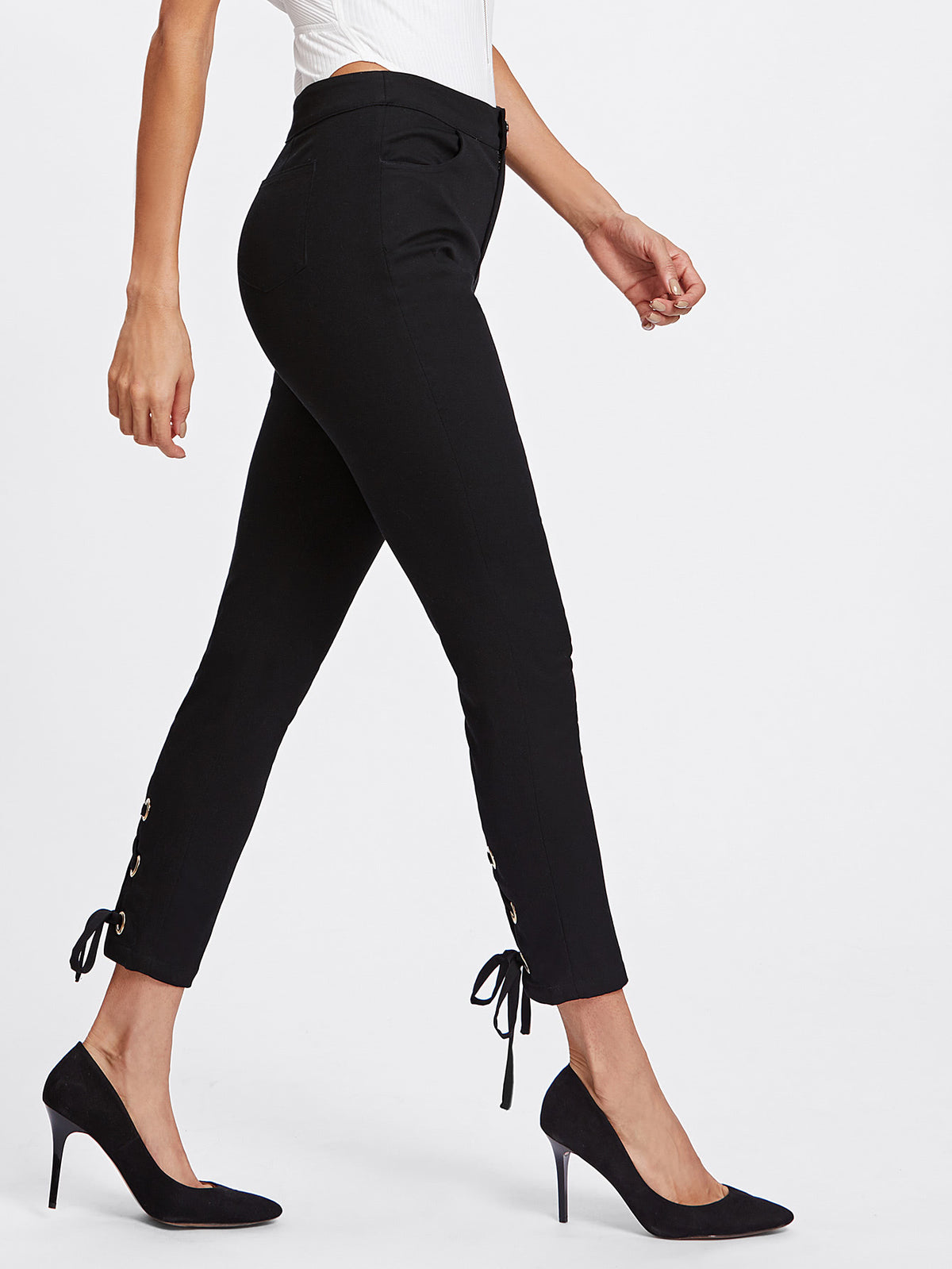 Grommet Lace Up Back Pants