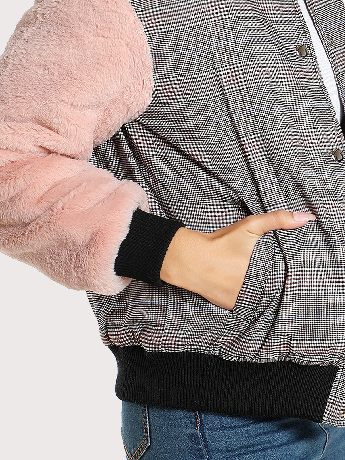 Fuzzy Sleeve Drop Shoulder Mixed Media Jacket