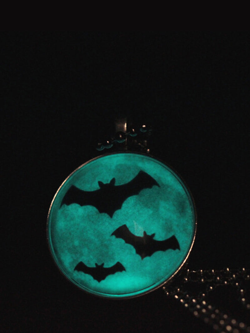 Glass Luminous Bat Pendant Chain Necklace