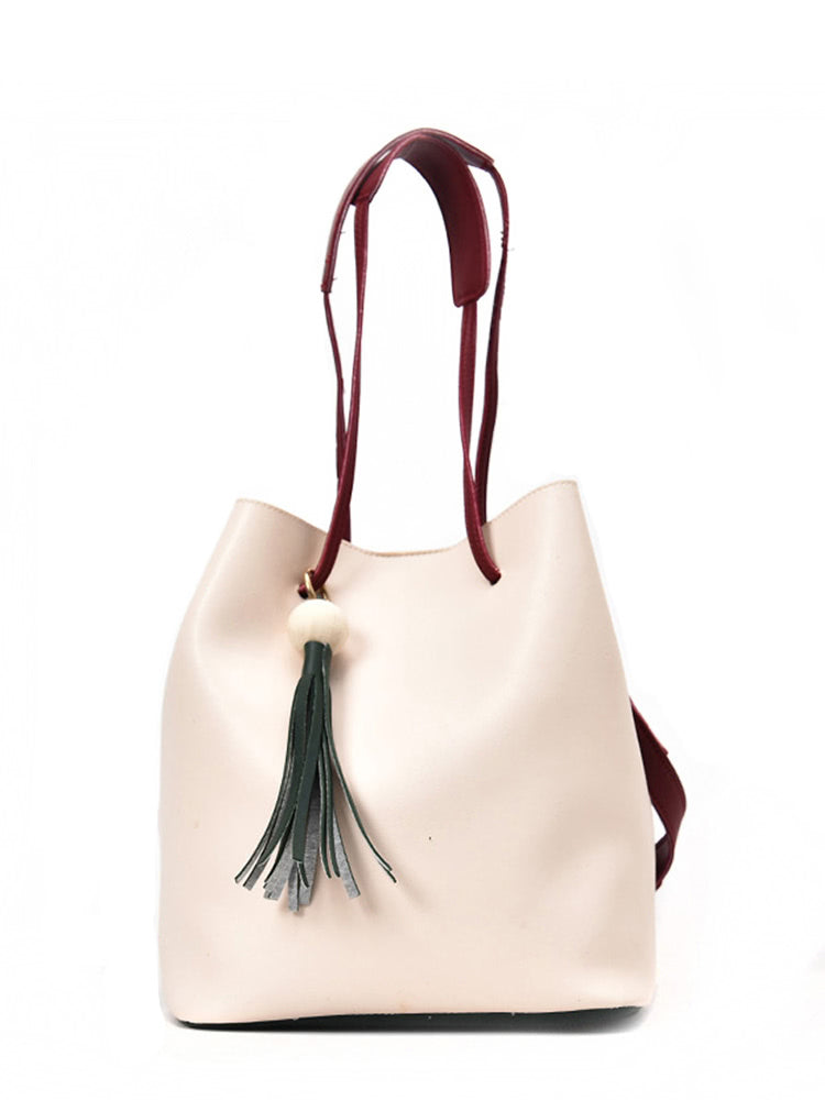 Tassel Detail Drawstring Bucket Bag