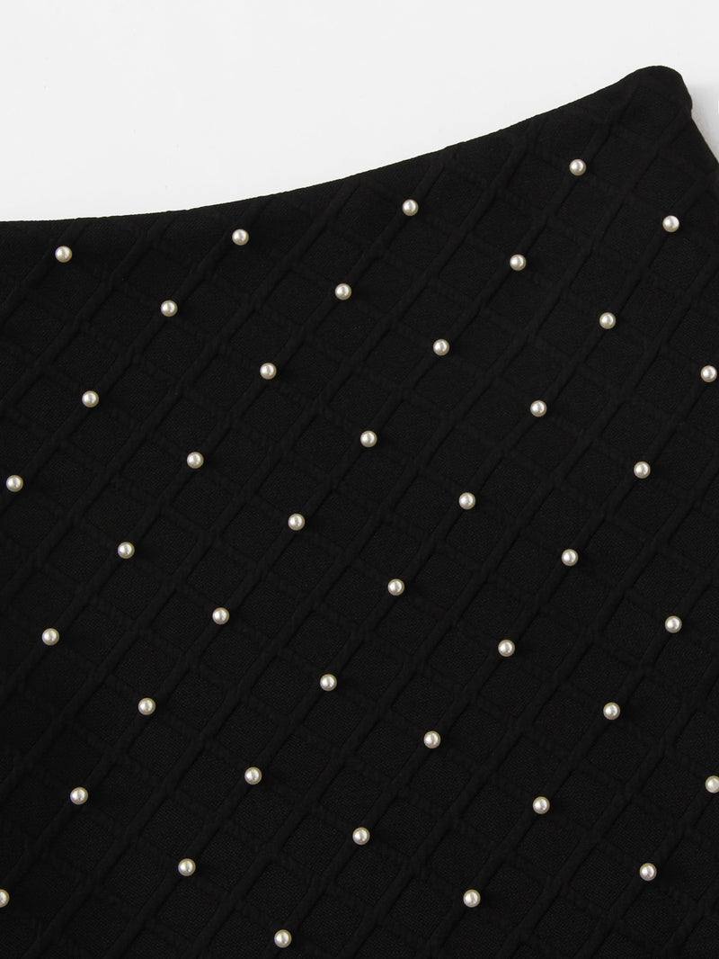Pearl Beading Textured Bodycon Skirt