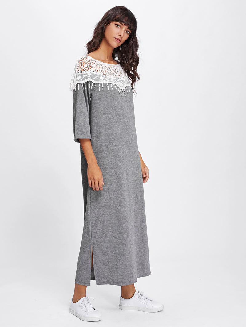 Lace Crochet Contrast Split Side Dress