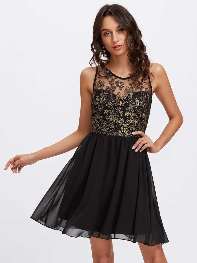 Floral Mesh Sweetheart Dress