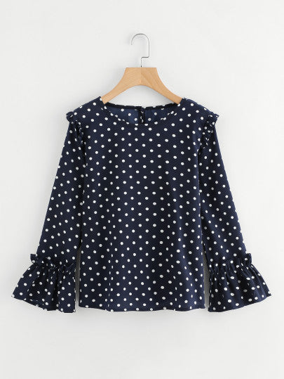 Frill Trim Polka Dot Blouse