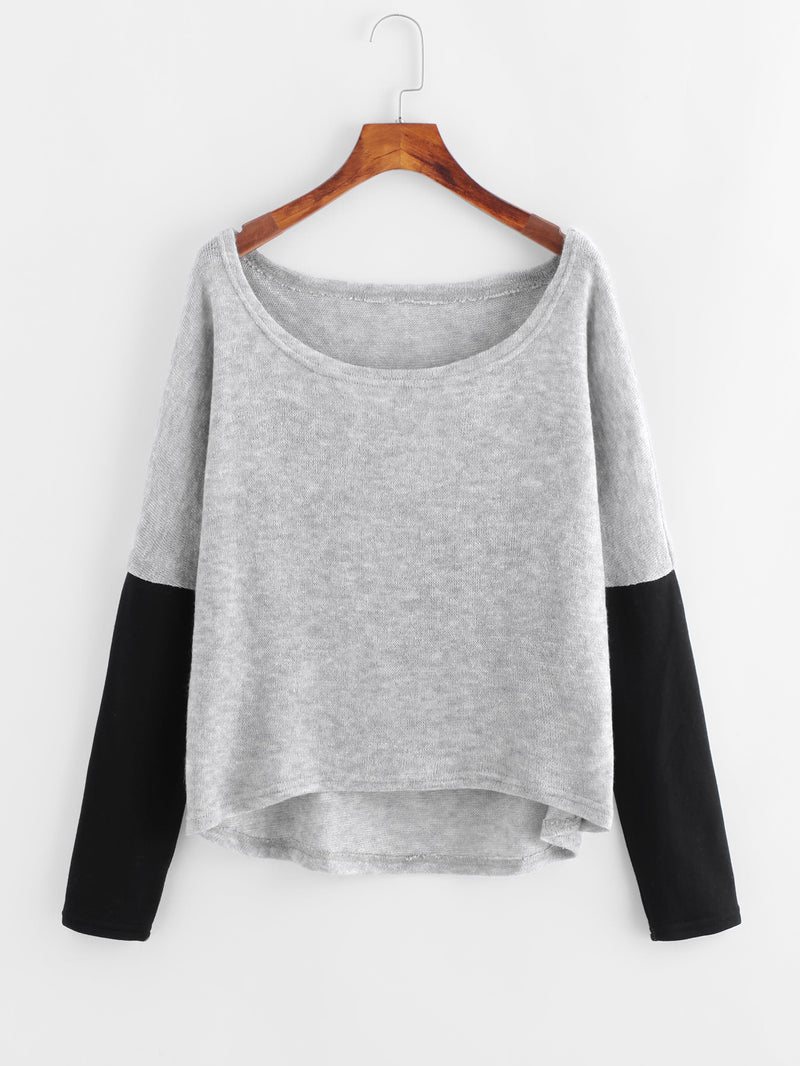Contrast Sleeve Dip Hem Sweater