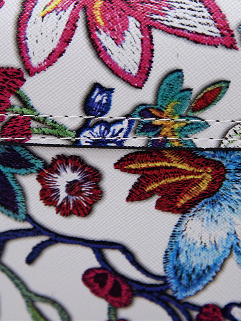 Flower Embroidery PU Flap Shouler Bag