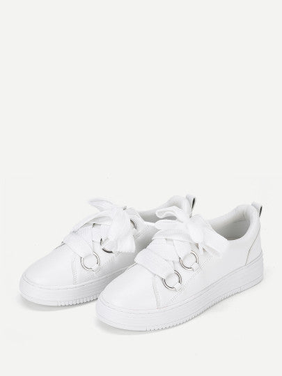 Lace Up Flatform PU Sneakers