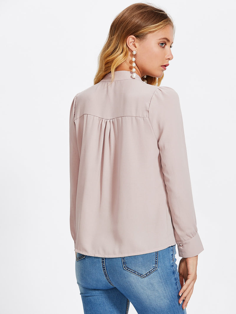 Mock Neck Button Front Shirt