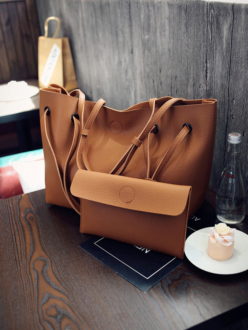 PU Shoulder Bag With Flap Clutch