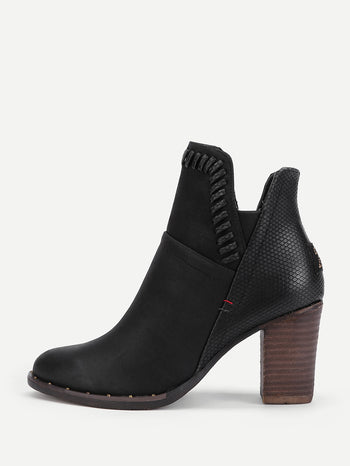 Patch Back Block Heeled Ankle Boots