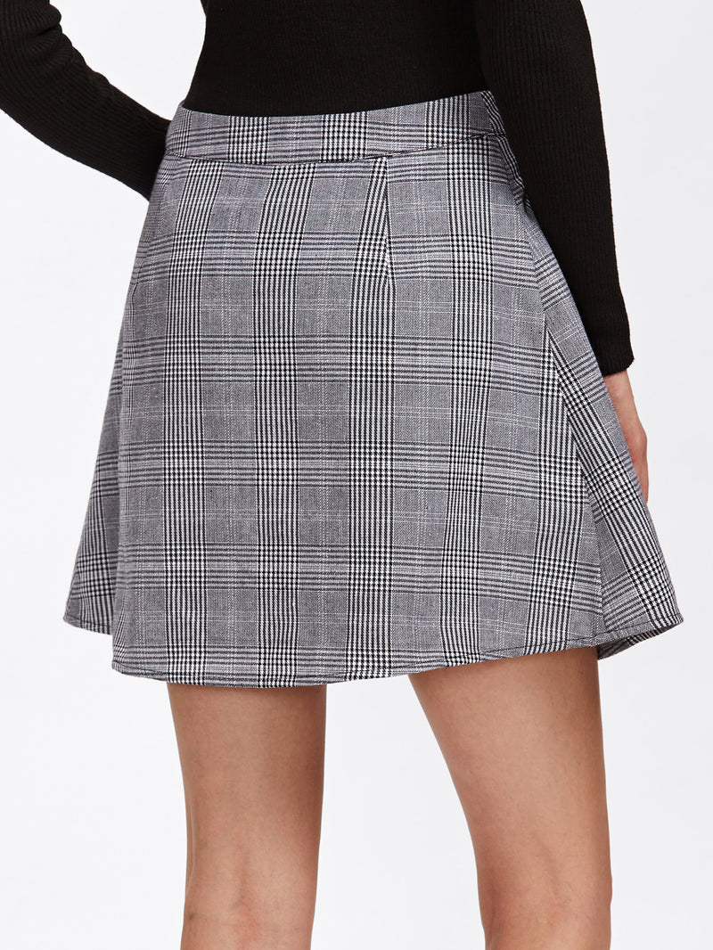Buttoned Plaid Wrap Skirt