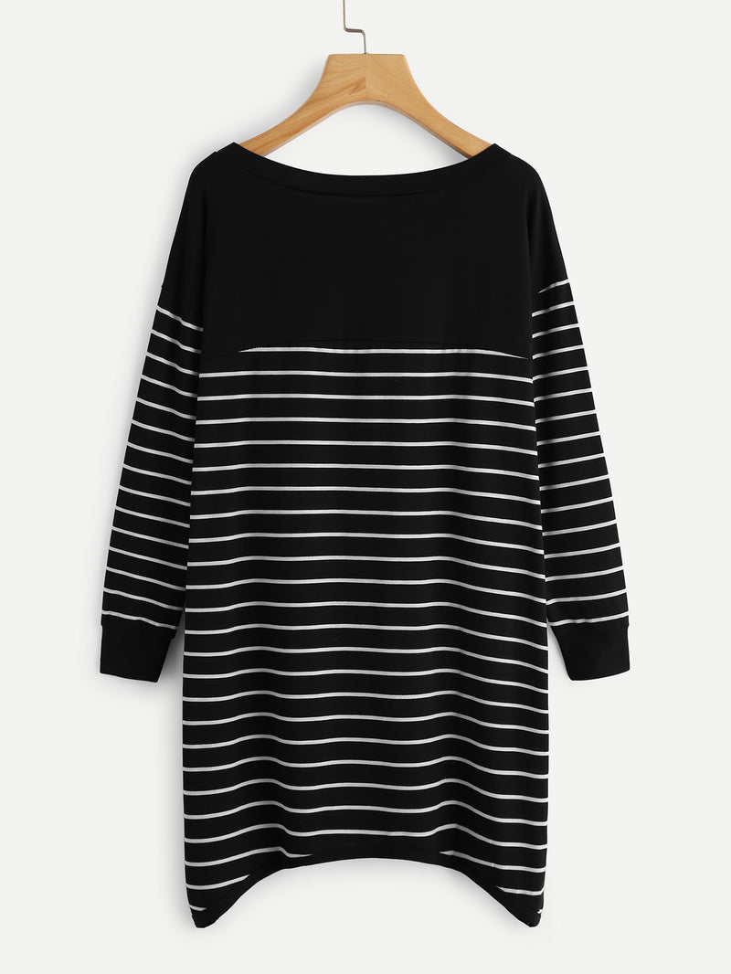 Contrast Striped Hanky Hem Dress