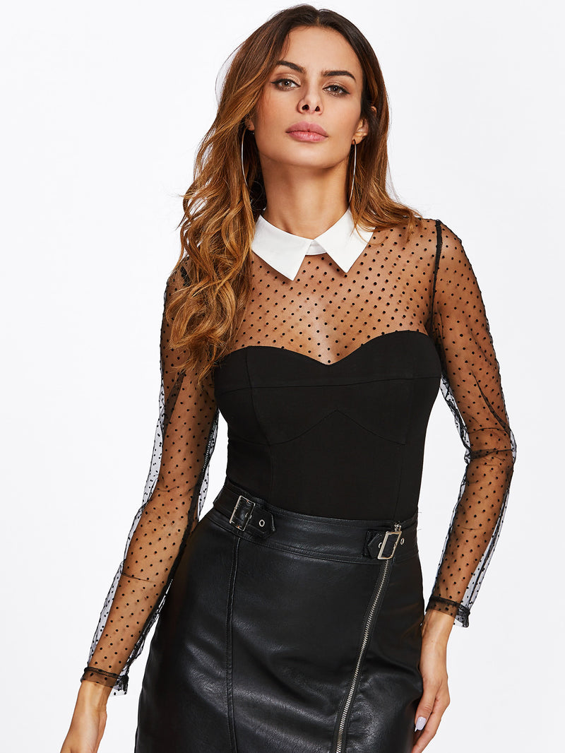 Dot Mesh Yoke And Sleeve Contrast Collar Bodysuit