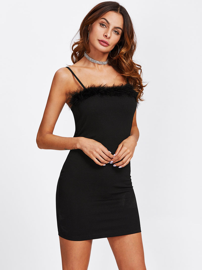 Faux Fur Detail Fitted Cami Dress