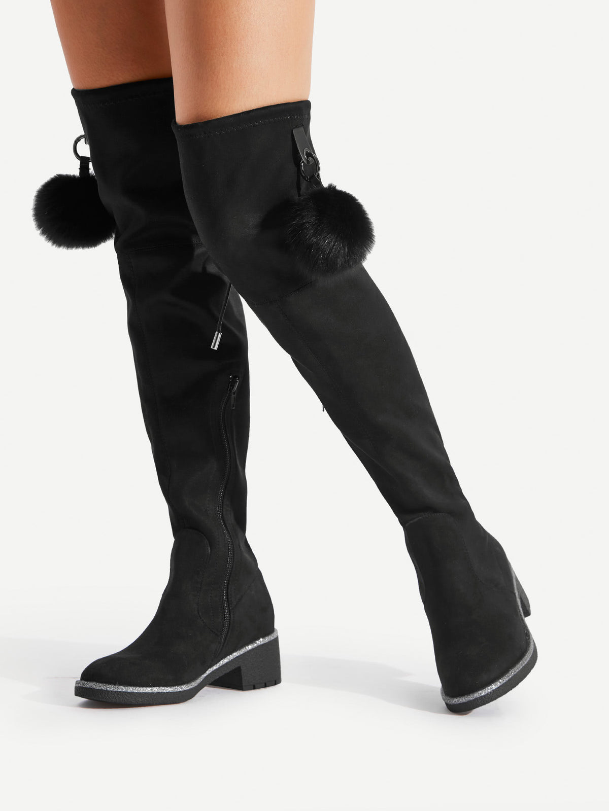 Pom Pom Decorated Over The Knee Boots