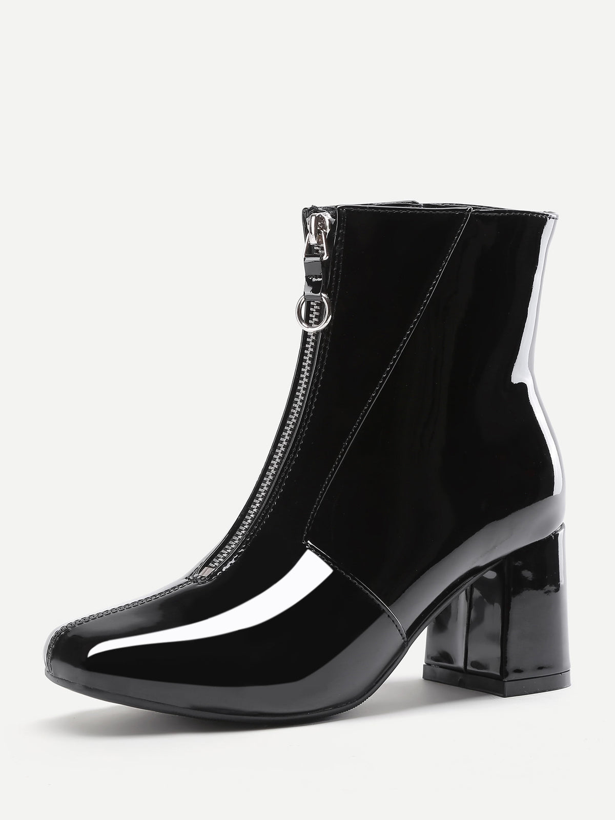 Front Zipper Patent Leather Ankle Boots